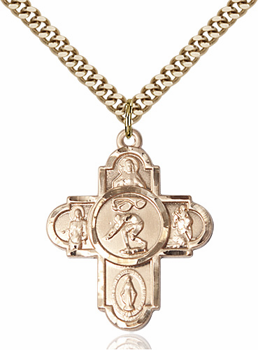 Swimming 5-Way Cross Sports Gold-Filled Medal Necklace by Bliss