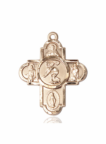 Swimming 5-Way Cross Sports14kt Gold Medal Necklace by Bliss