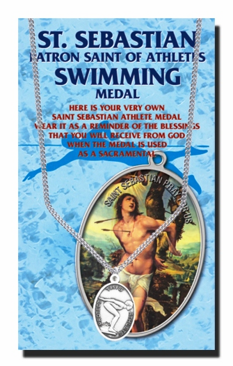 Swimming Female St Sebastian Athlete Sports Necklace with Prayer Card by Hirten