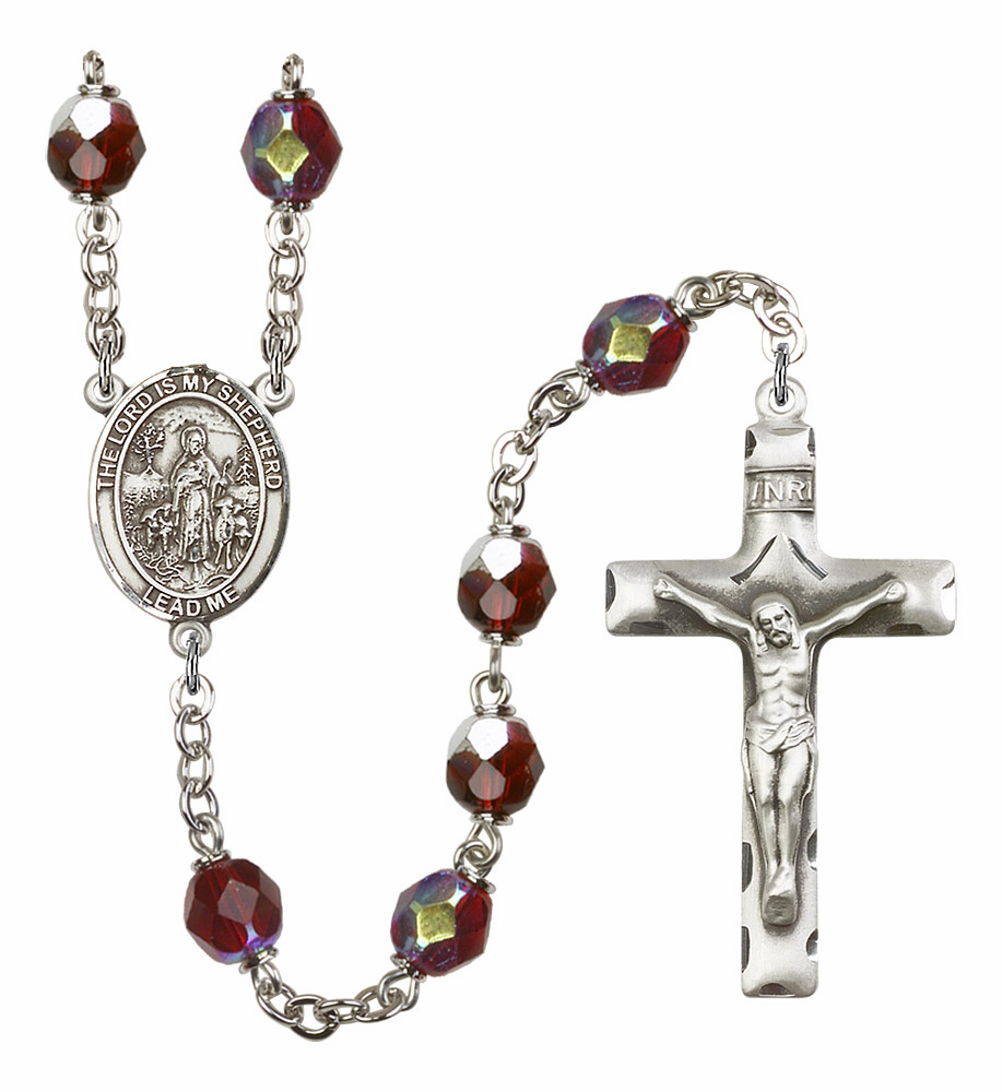 The Lord Is My Shepherd 7mm Lock Link Aurora Borealis Garnet Rosary by Bliss