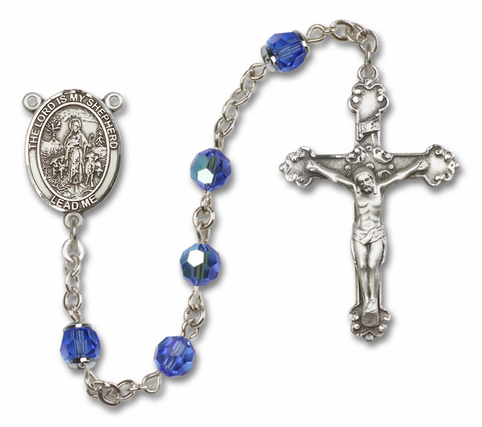The Lord Is My Shepherd Patron Saint Sapphire Swarovski Sterling Rosary by Bliss