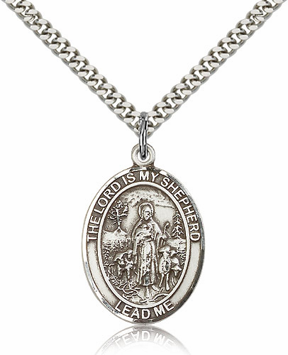 The Lord Is My Shepherd Pewter Patron Saint Necklace by Bliss