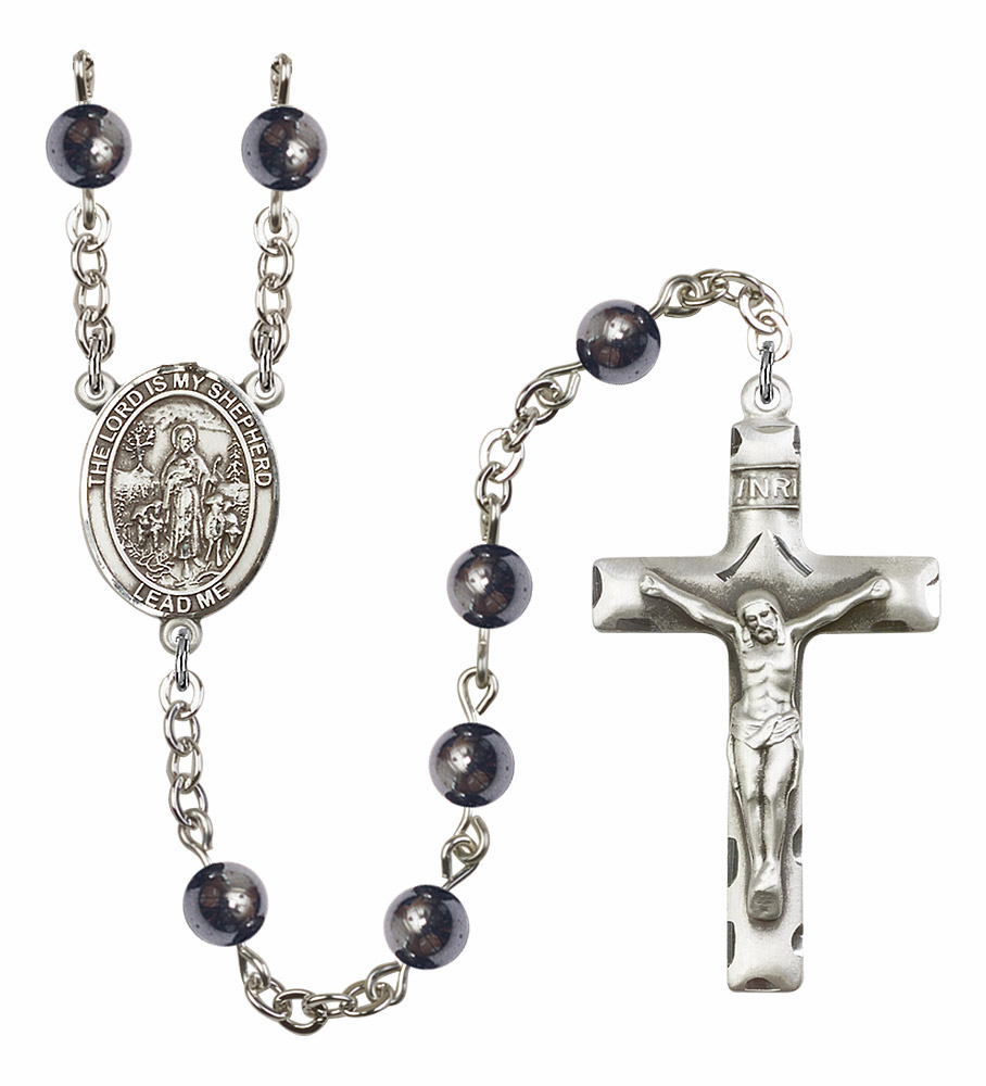The Lord Is My Shepherd Silver Plate Gemstone Prayer Rosary by Bliss