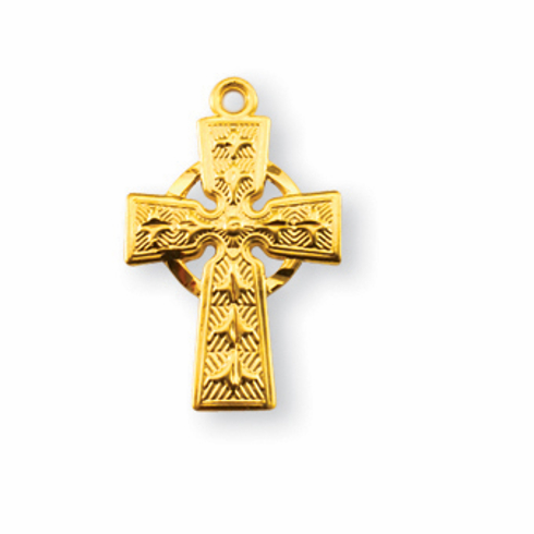 Tiny Gold Celtic Lilies Irish Cross Weternity Circle Necklace By