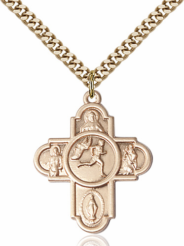 Track and Field 5-Way Cross Sports Gold-Filled Medal Necklace by Bliss