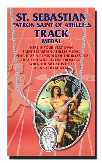 Track Female St Sebastian Athlete Sports Necklace with Prayer Card by Hirten