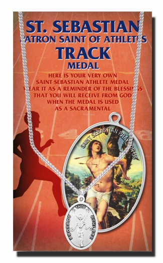Track Male St Sebastian Athlete Sports Necklace with Prayer Card by Hirten