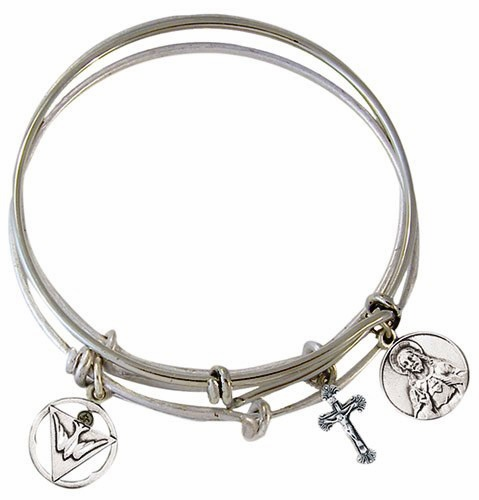 Trinity 3 Piece Bangle Set  Medal Charm Bracelet by Jeweled Cross