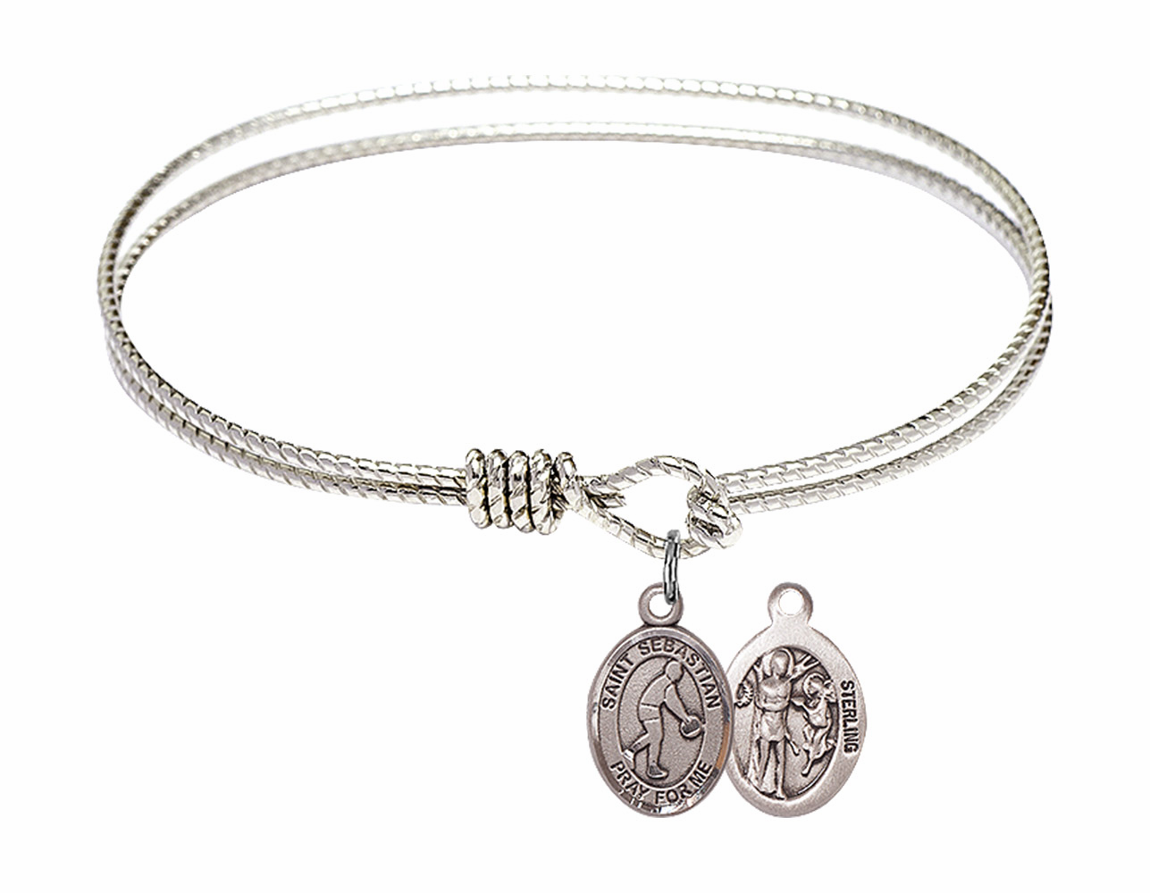 Twist Round Eye Hook St Sebastian Basketball Bangle Charm Bracelet by Bliss