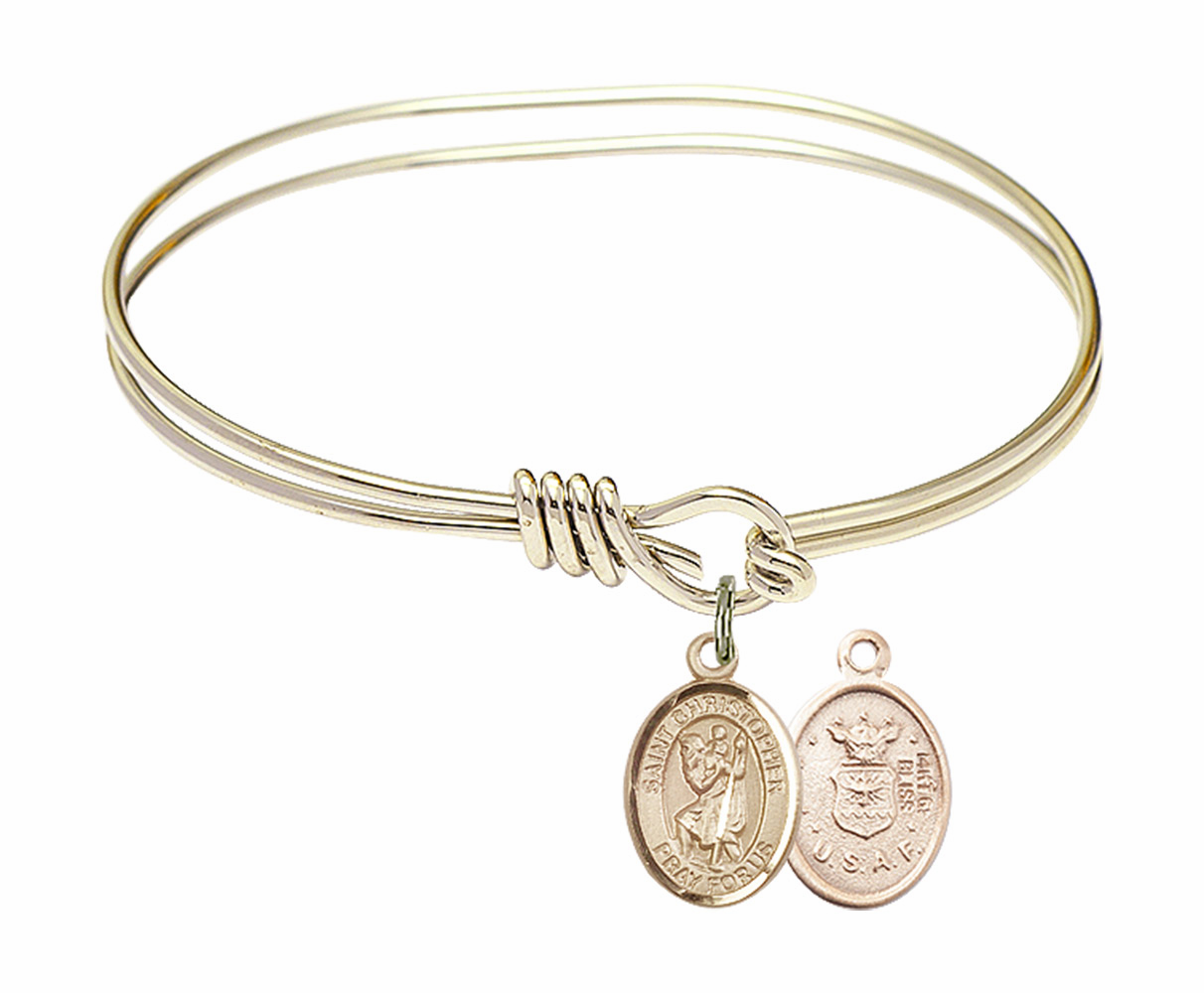 Twisted Gold-filled St Christopher Air Force Bangle Charm Bracelet by Bliss