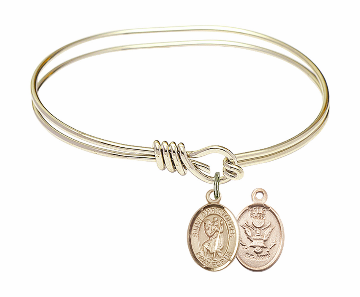 Twisted Gold-filled St Christopher Army Bangle Charm Bracelet by Bliss
