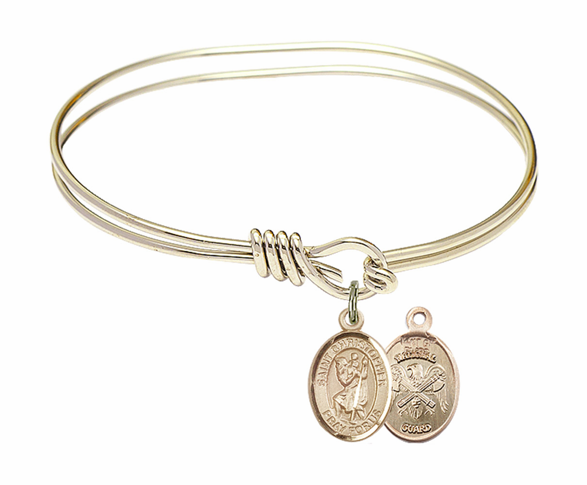 Twisted Gold-filled St Christopher National Guard Bangle Charm Bracelet by Bliss