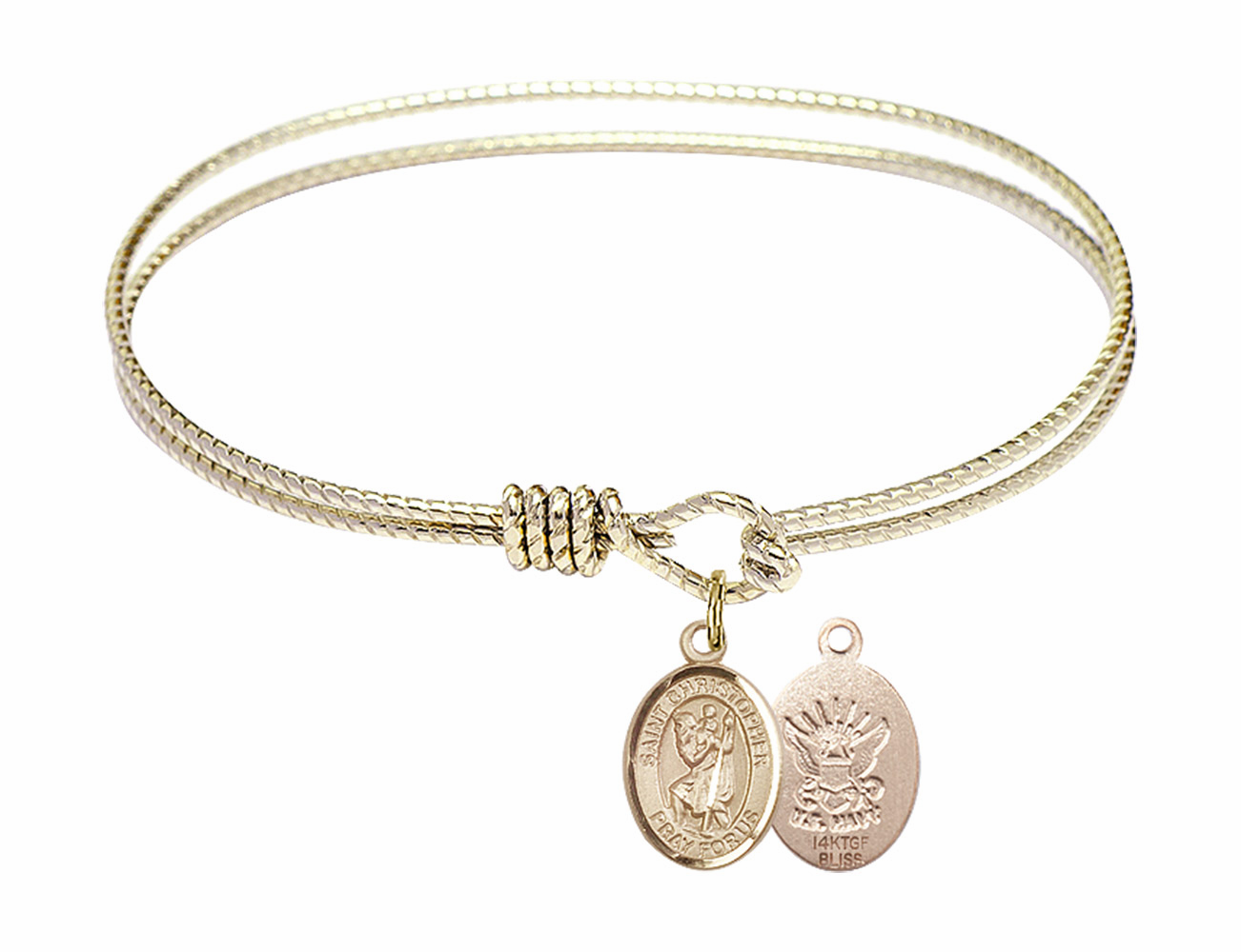 Twisted Gold-filled St Christopher Navy Bangle Charm Bracelet by Bliss