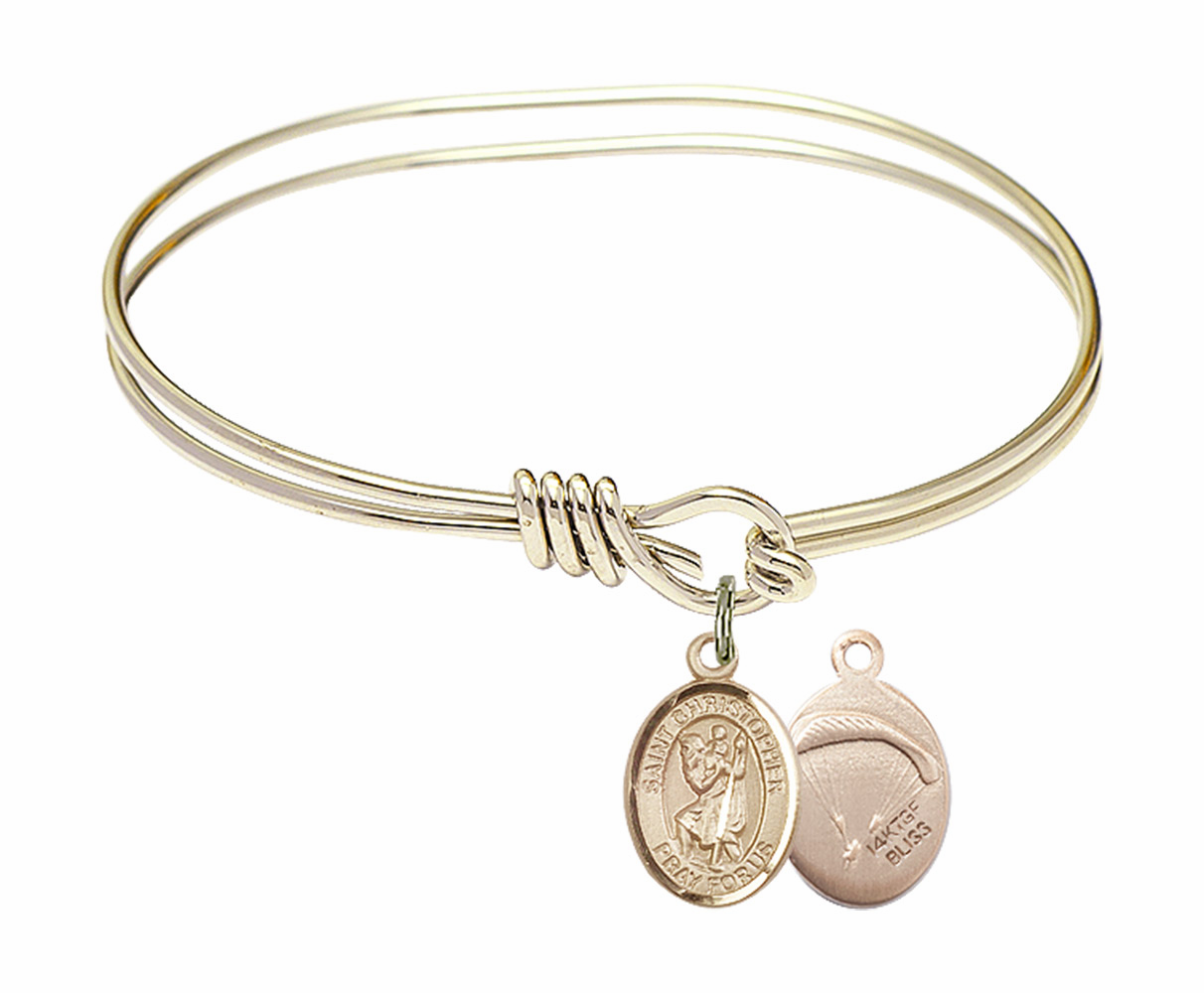 Twisted Gold-filled St Christopher Paratrooper Bangle Charm Bracelet by Bliss