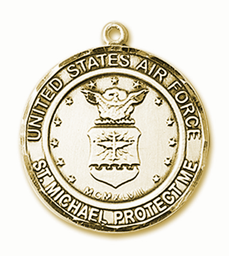 US Air Force Patron St Michael 14kt Gold Engravable Medal Pendant by Bliss