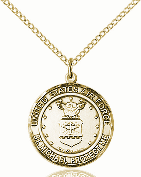 US Air Force Patron St Michael 14kt Gold-filled Engravable Medal Necklace by Bliss