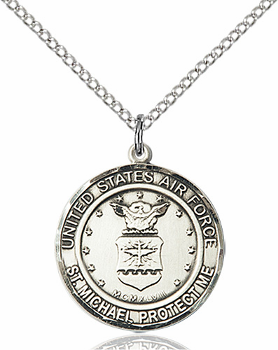 US Air Force Patron St Michael Sterling Engravable Medal Necklace by Bliss