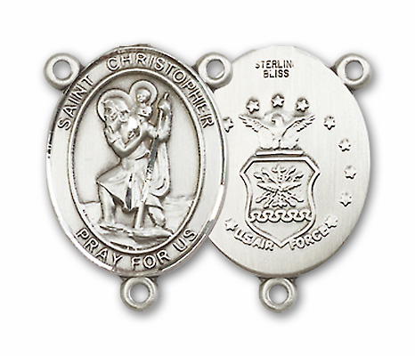 US Air Force St Christopher Sterling Silver Rosary Centerpiece by Bliss