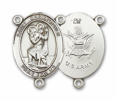 US Army St. Christopher Sterling Silver Rosary Center by Bliss