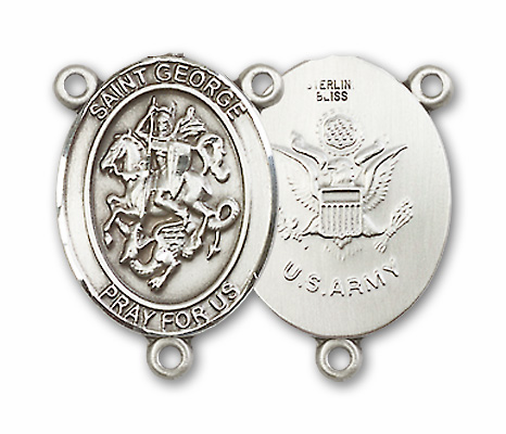US Army St. George Patron Saint Sterling Silver Rosary Center by Bliss