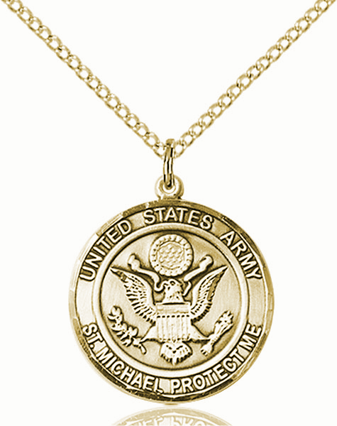 US Army St Michael 14kt Gold-filled Engravable Medal Necklace by Bliss