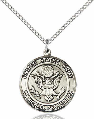US Army St Michael Sterling Engravable Medal Necklace by Bliss