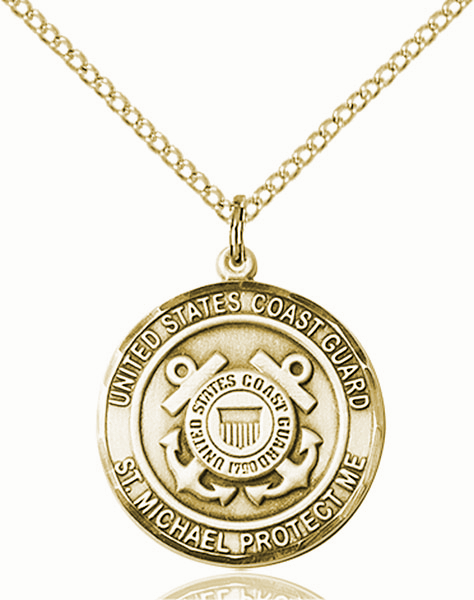 US Coast Guard Patron St Michael 14kt Gold-filled Engravable Medal Necklace by Bliss