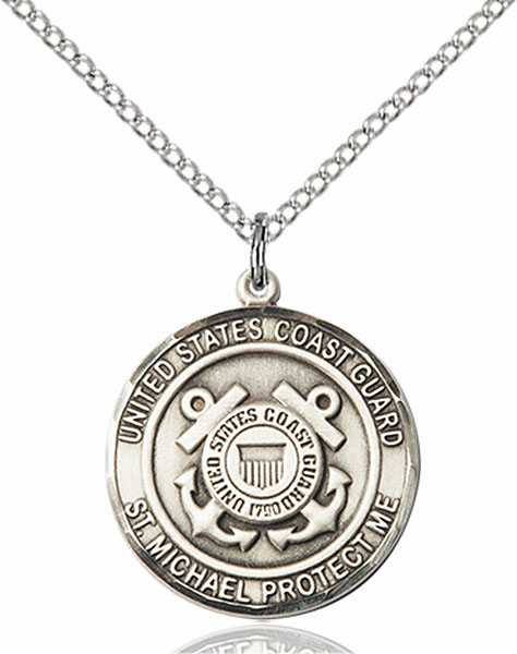 US Coast Guard Patron St Michael Silver-filled Engravable Medal Necklace by Bliss
