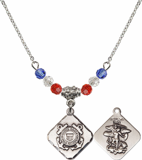 US Coast Guard St Michael Diamond Shaped Beaded Necklace by Bliss Mfg