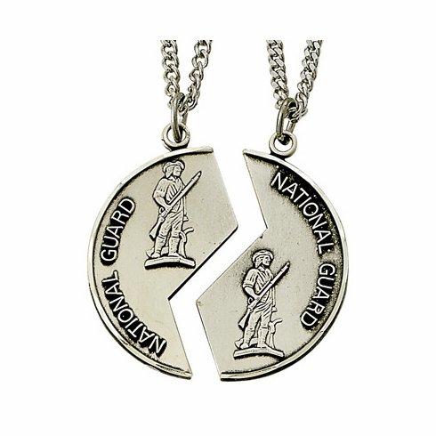 US National Guard Jewish Mizpah Sterling Silver Necklaces by Singer