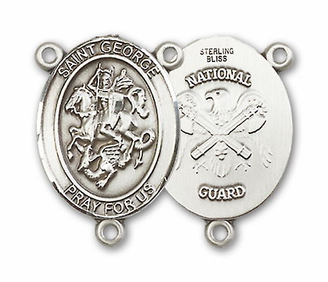 US National Guard St George Patron Saint Sterling Silver Rosary Centerpiece