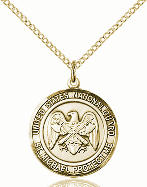 US National Guard St Michael 14kt Gold-filled Engravable Medal Necklace by Bliss