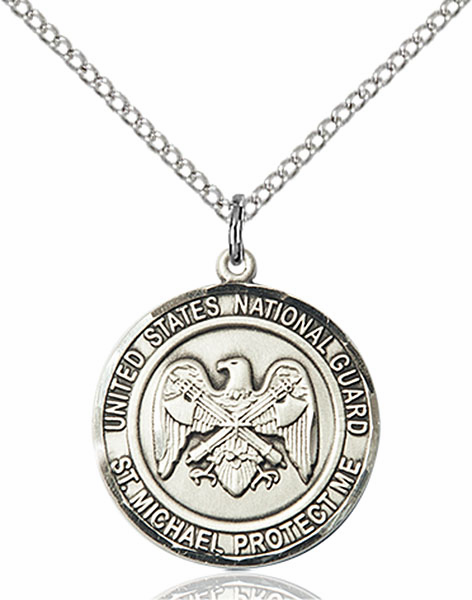 US National Guard St Michael Silver-filled Engravable Medal Necklace by Bliss
