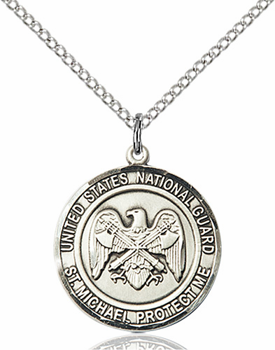 US National Guard St Michael Sterling Engravable Medal Necklace by Bliss