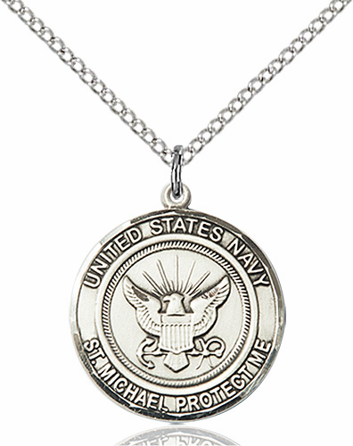 US Navy Patron Saint Michael Sterling Engravable Medal Necklace by Bliss