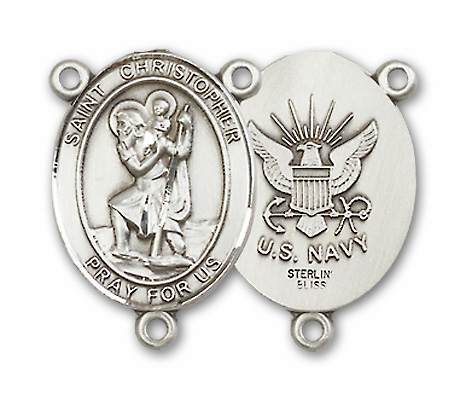 US Navy St Christopher Patron Saint Sterling Silver Rosary Centerpiece