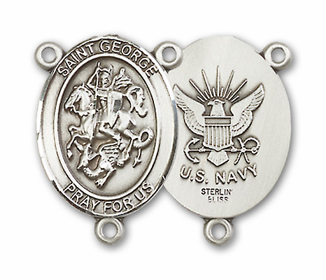 US Navy St George Patron Saint Sterling Silver Rosary Centerpiece