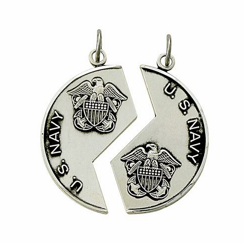US Navy St Michael Sterling Silver Medal Dog Tag Necklace by Singer