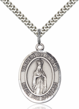 Virgen de Fatima Silver-filled Patron Saint Necklace with Chain by Bliss