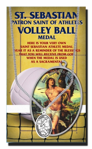 Volleyball Female St Sebastian Athlete Sports Necklace with Prayer Card by Hirten