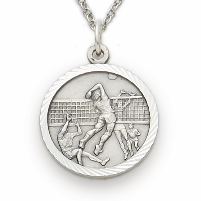 Volleyball Player Sterling Silver Pendant with Cross Necklace