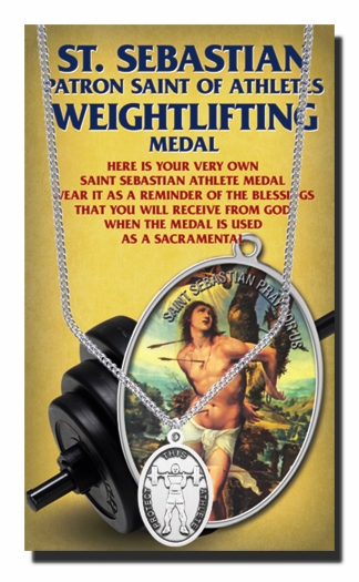 Weightlifting Male St Sebastian Athlete Sports Necklace with Prayer Card by Hirten