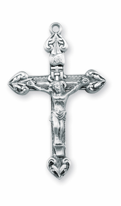 Woven Cross w/Heart Tip Sterling Silver Crucifix Rosary Part by HMH Religious