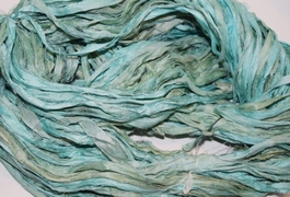 10 Yards Sari SILK Ribbon Cyan
