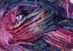 10 Yards Sari SILK Ribbon Dark Purple Pink