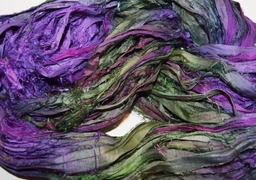 10 Yards Sari SILK Ribbon Purple Green