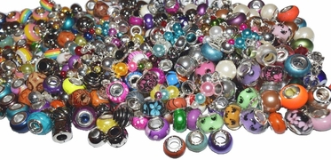 Bead Large Hole European Charm Bead mix soup, spacer beads mix Lot 100 Qty