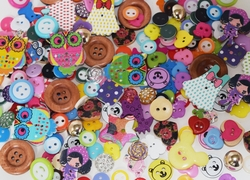 Bag of 150 Assorted Buttons Mixed Colors of Various Shapes and Sizes
