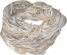 100g Sari Chiffon SILK Ribbon Yarn Cream Beige