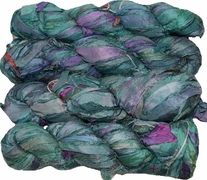 100g Sari SILK Ribbon Art Yarn Aqua Purple